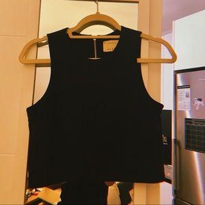 Artelier | Black Suit Crop w/ Gold Zipper Back